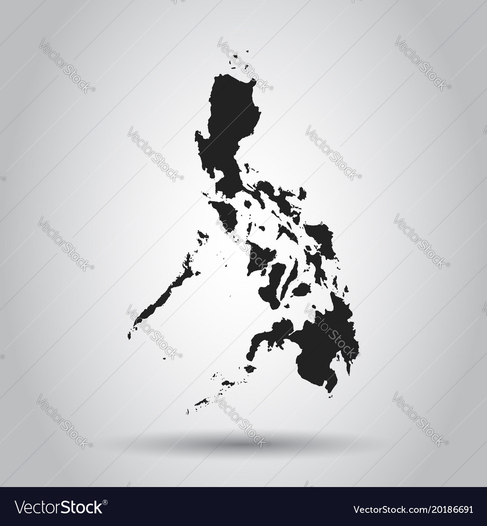 Philippines Map Black And White.Philippines Map Black Icon On White Background Vector Image