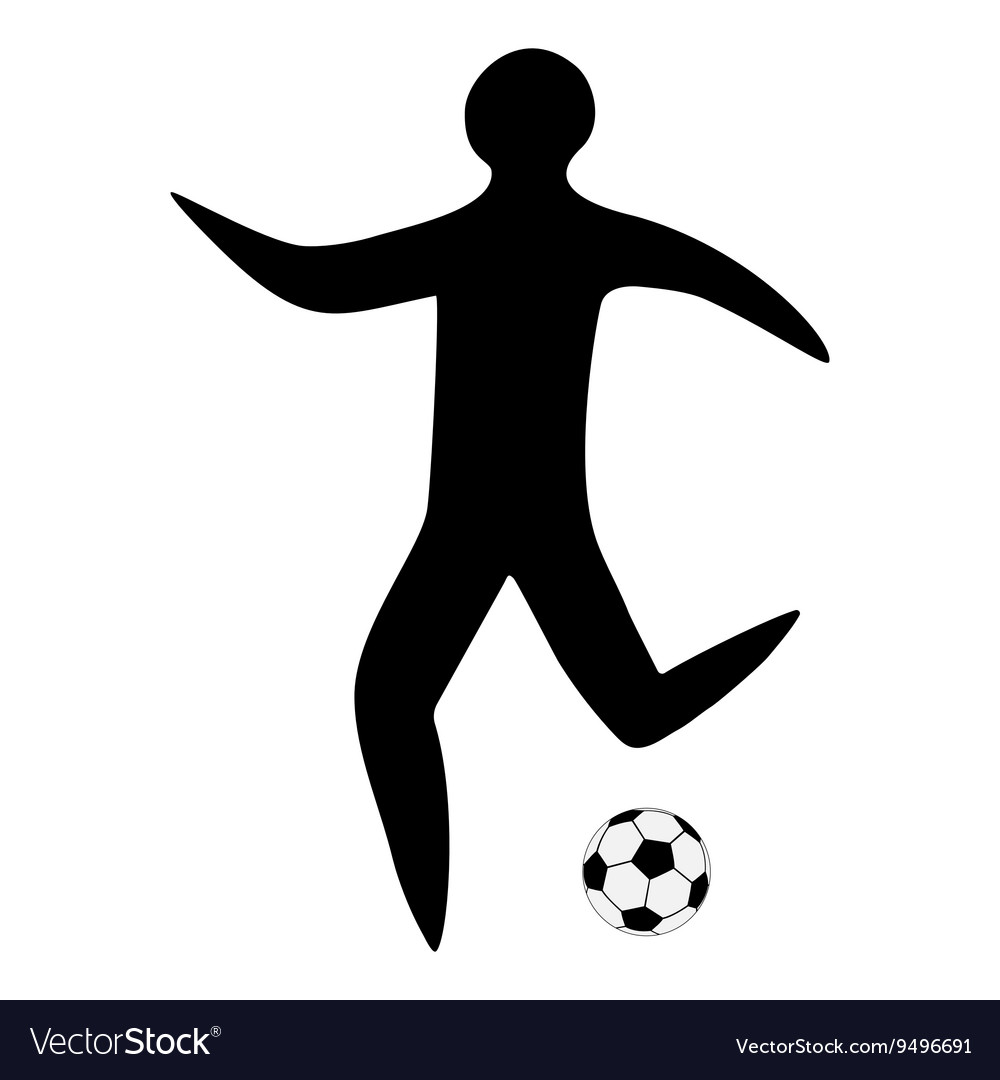 Sportsman man soccer player with ball silhouette
