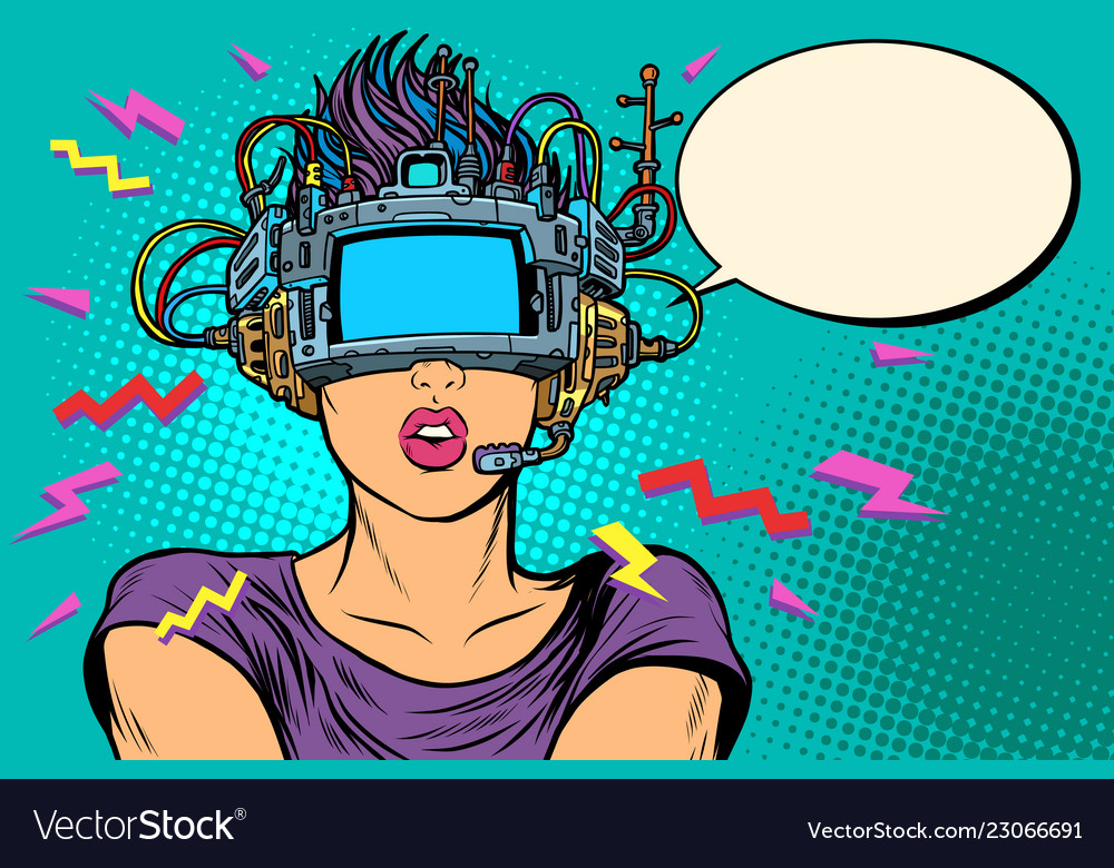 Surprised woman in vr glasses