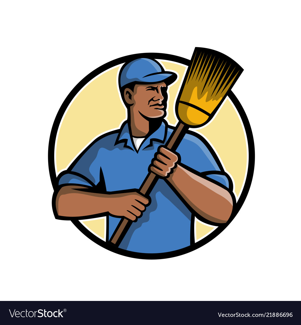 African american street sweeper or cleaner mascot