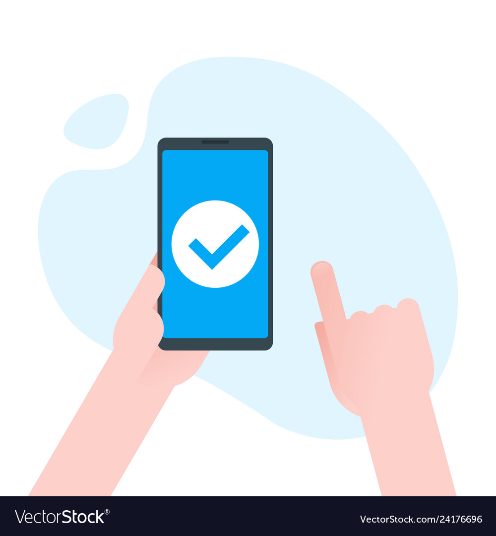 Check mark on smartphone screen hand holds the