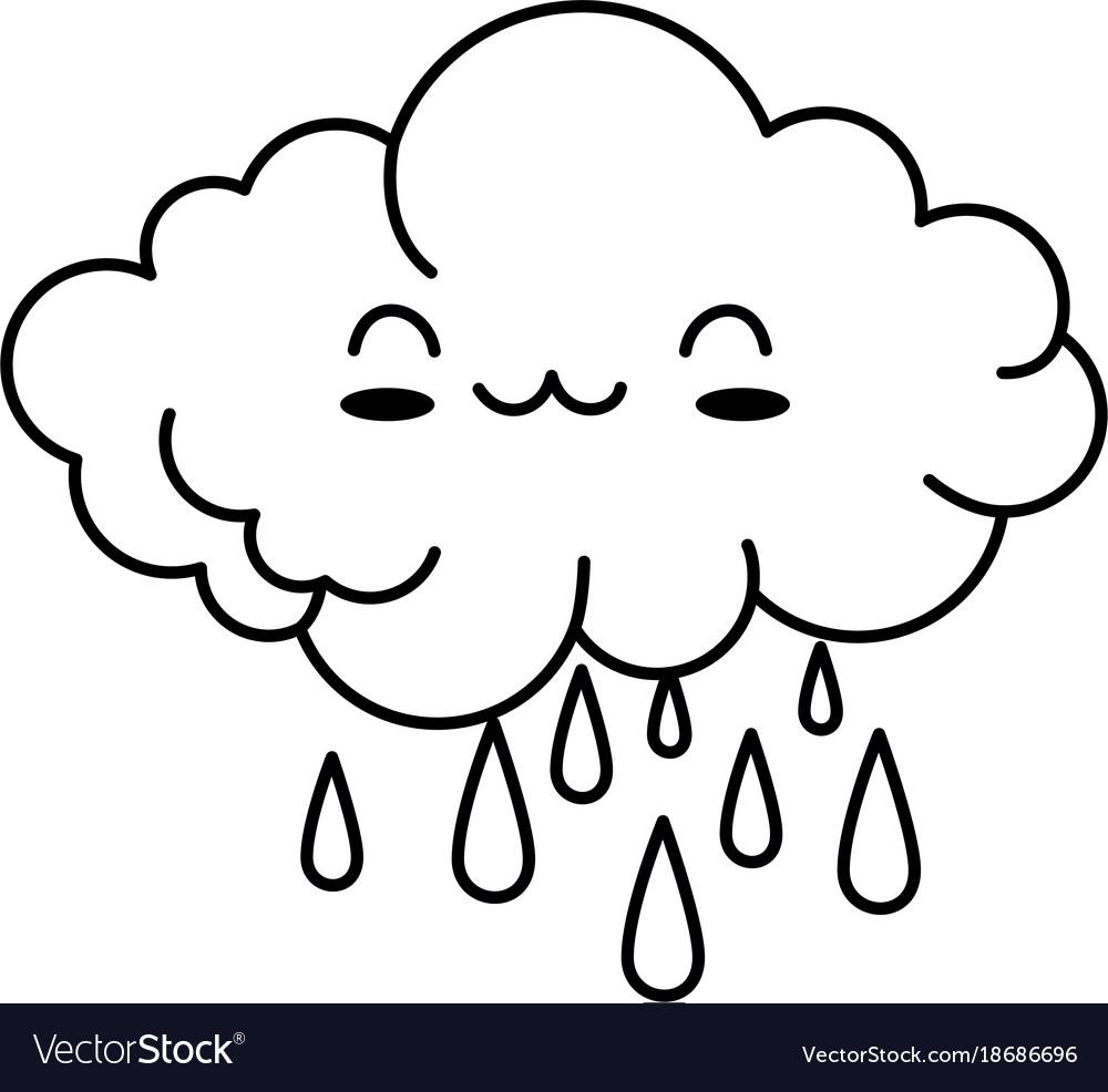 Cute cloud rainy kawaii character
