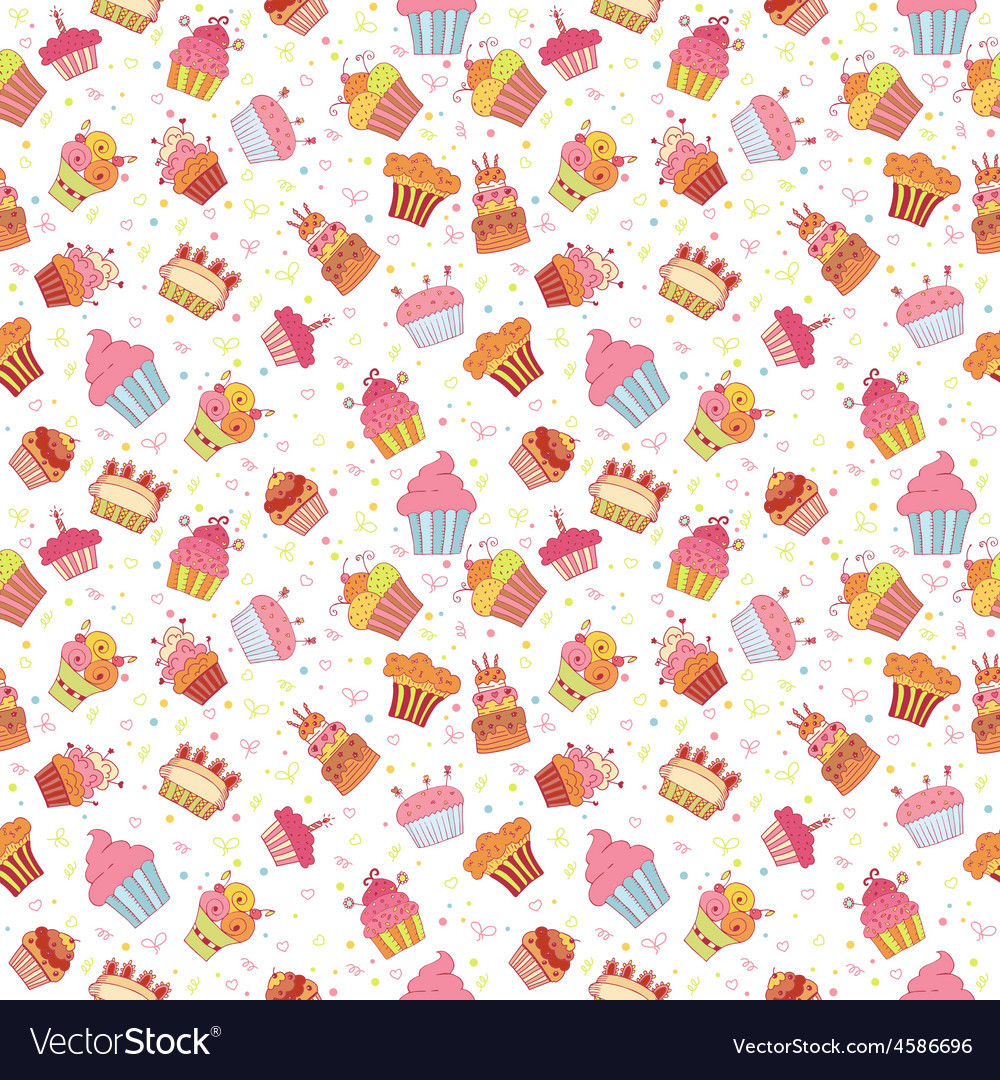 Cute seamless pattern with cupcakes Birthday party