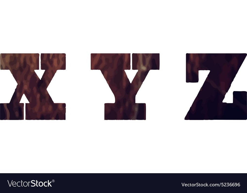English textured alphabet