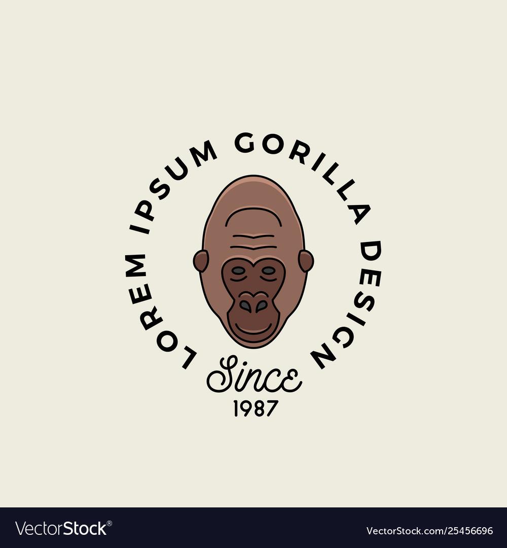 Line style gorilla ape or monkey face with retro