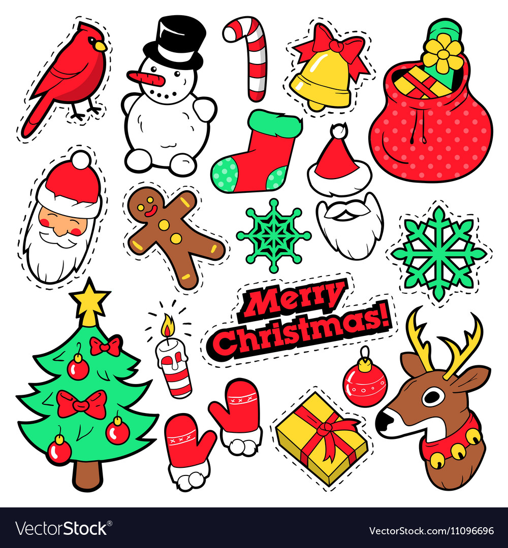 merry christmas badges patches stickers vector image - Merry Christmas Stickers