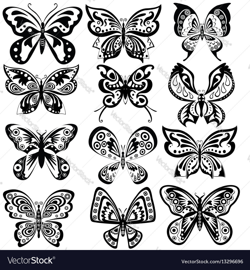 Set butterfly in black and white