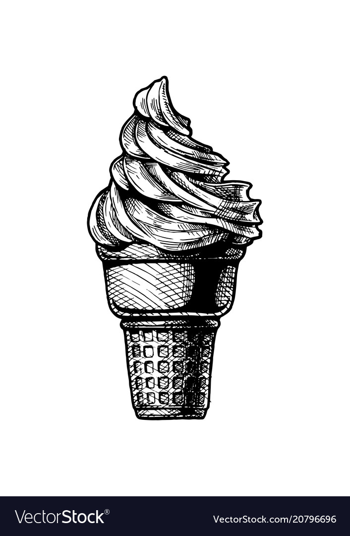 Soft serve ice cream in a cone
