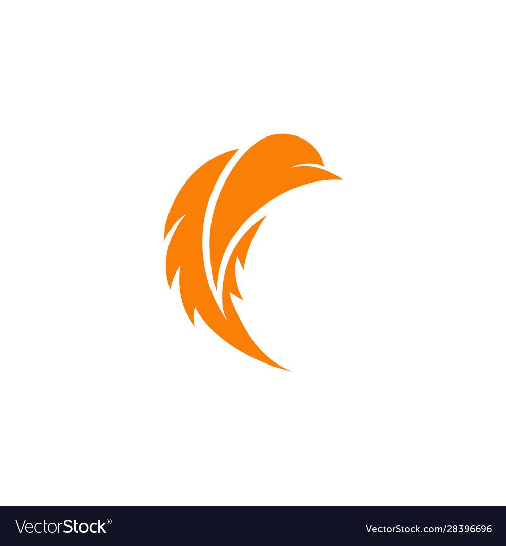 Stylized bird logo orange color bird stylish
