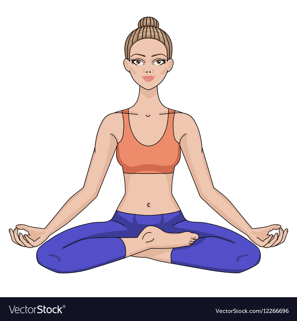 Women silhouette Yoga lotus pose Padmasana
