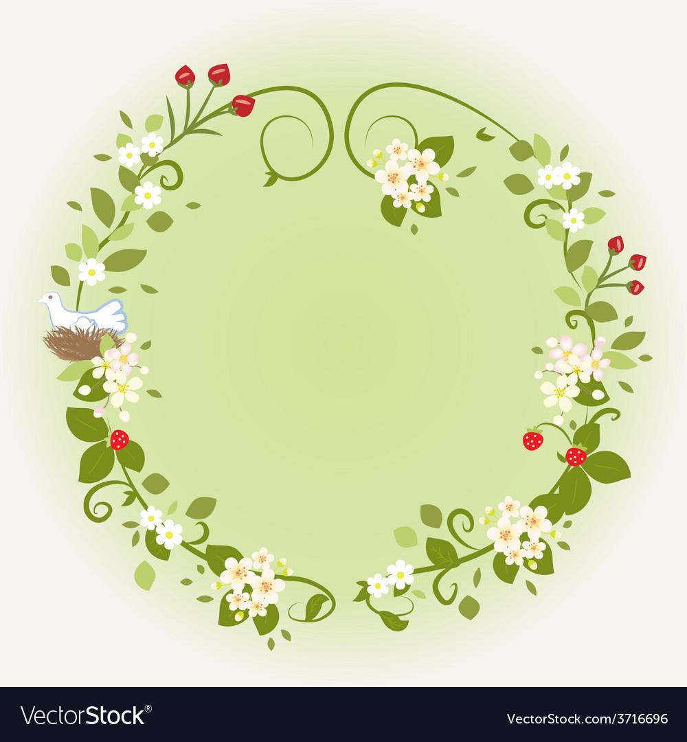Wreath Frame Card Vintage Wooden sign Floral Bird
