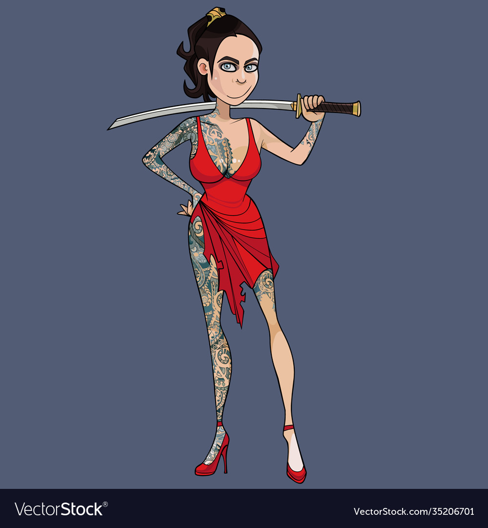 Cartoon woman in tattoos holding a sword behind
