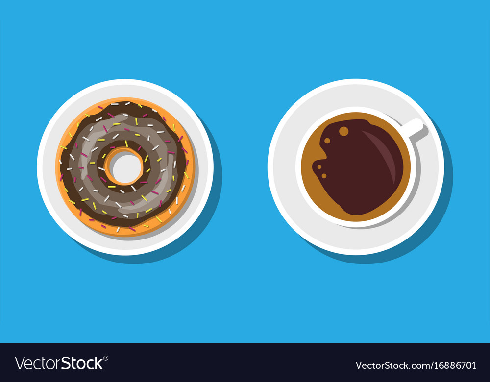 Coffee cup and donuts with chocolate cream