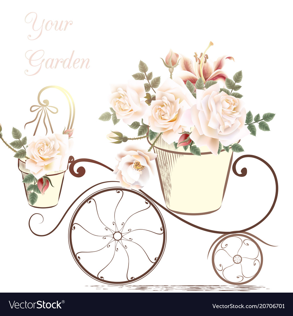 Cute with rose flowers in a potter your garden