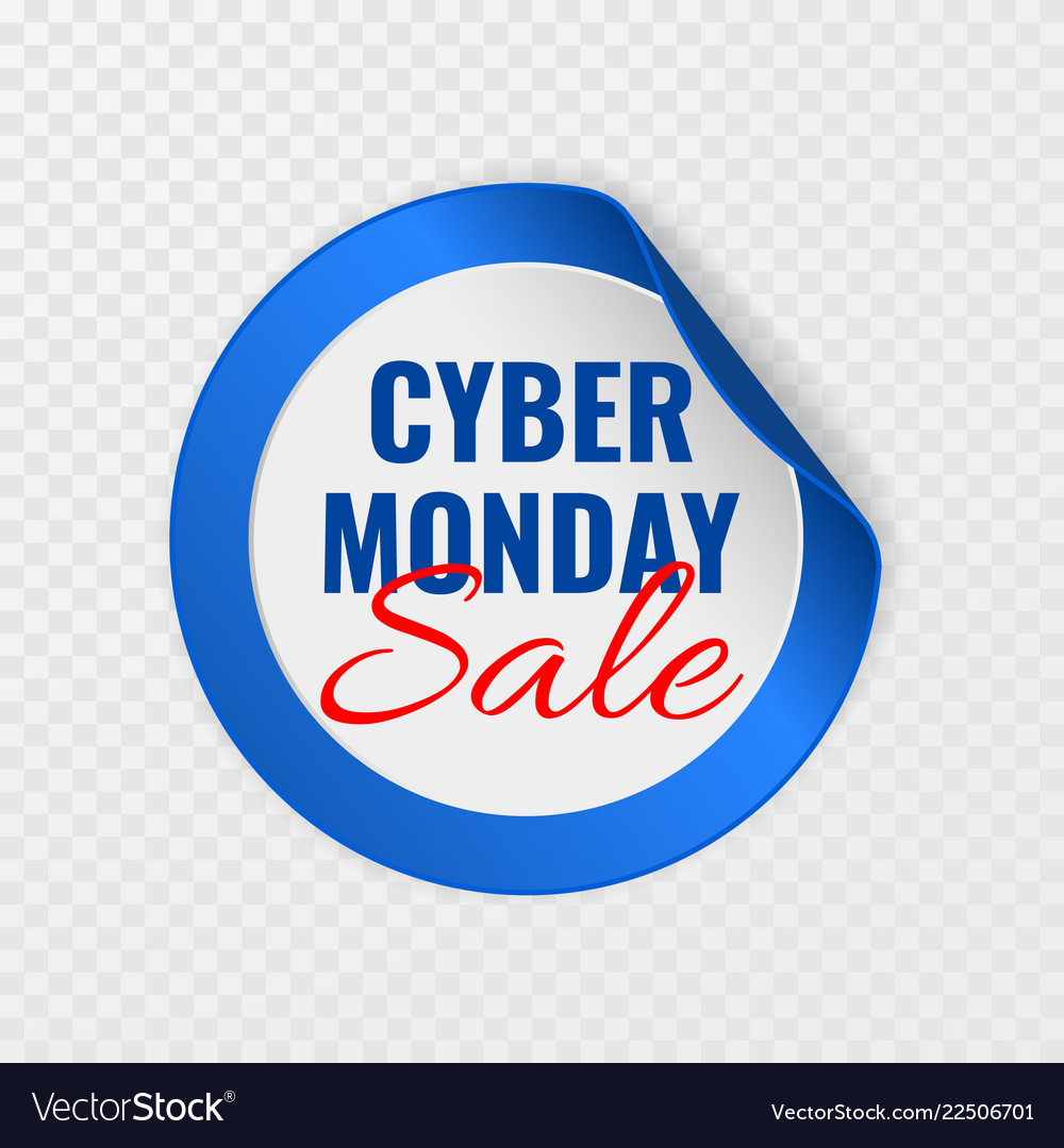 Cyber monday sale black round sticker with curled