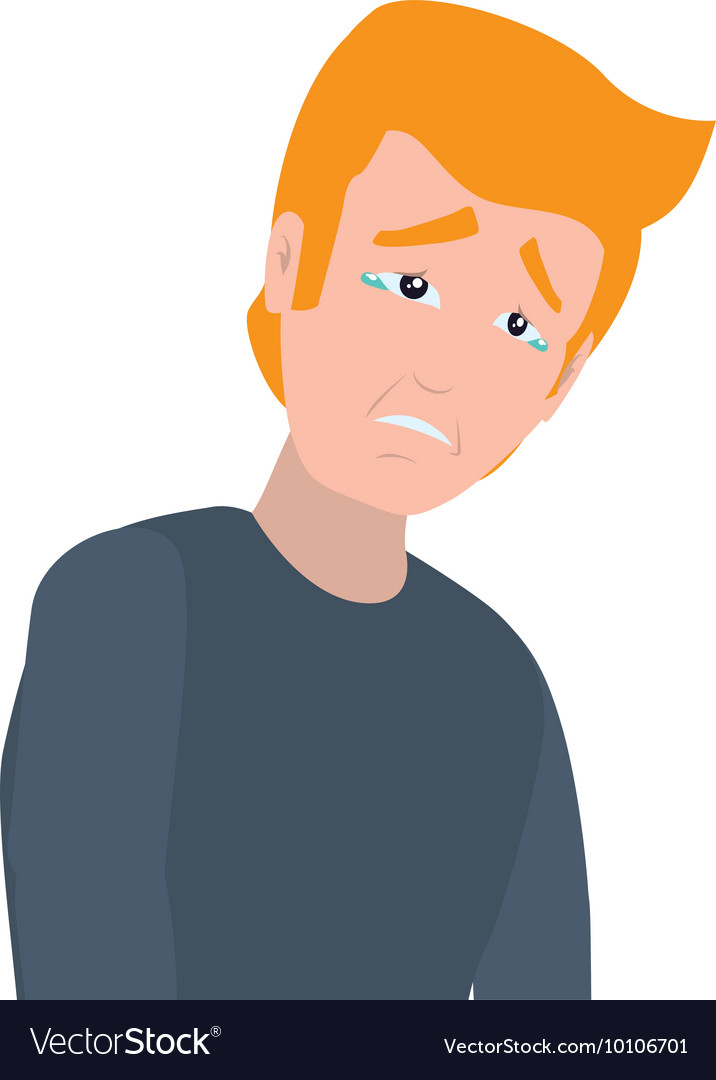 Face sad man expression cartoon icon Royalty Free Vector