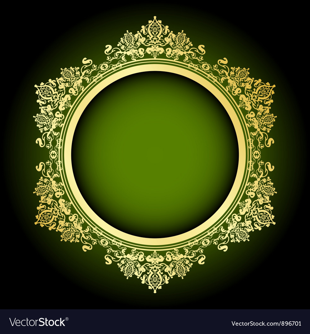 Green And Gold Frame Royalty Free Vector Image