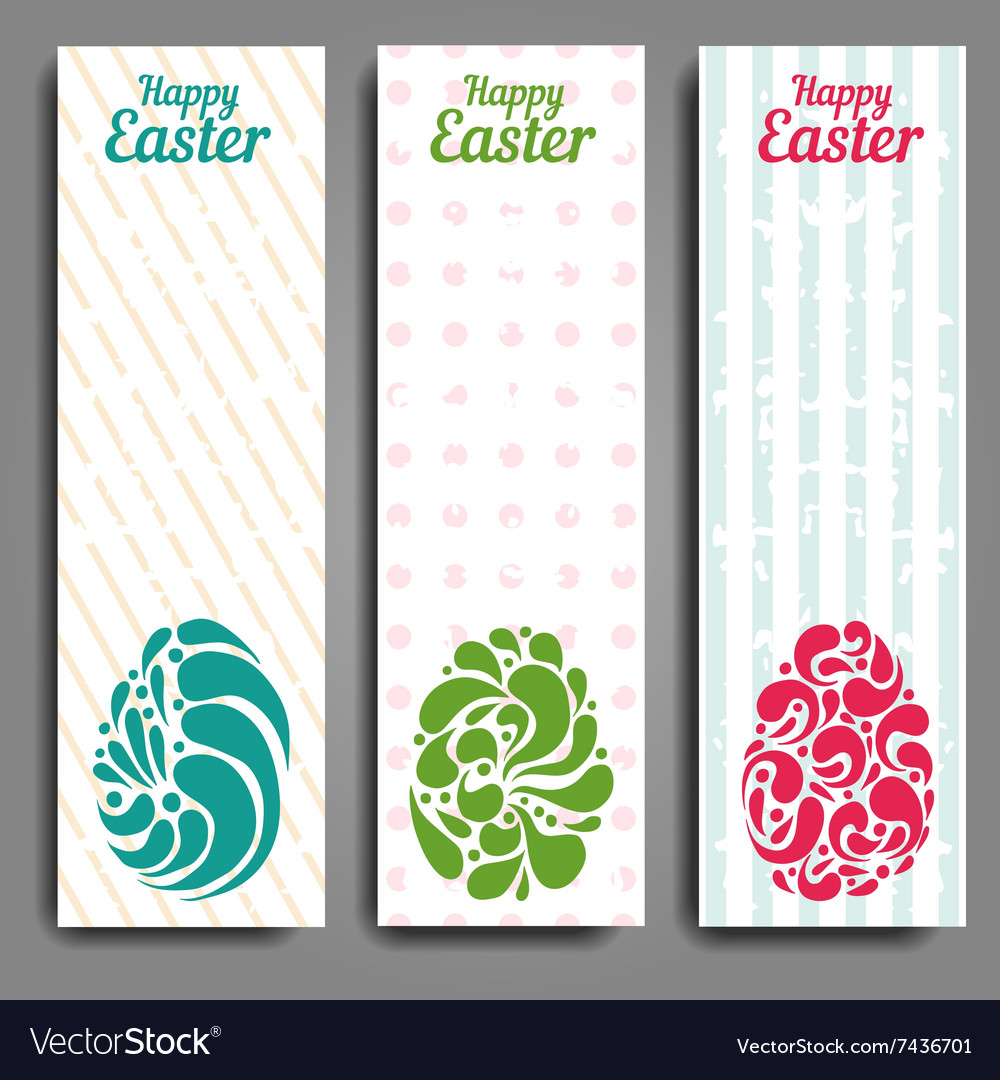 Grunge vertical banners set with ornamental easter