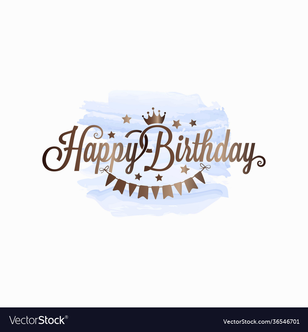 Happy birthday watercolor card on white background