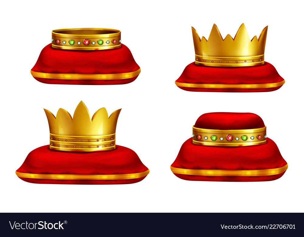 King or queen headwear realistic collection