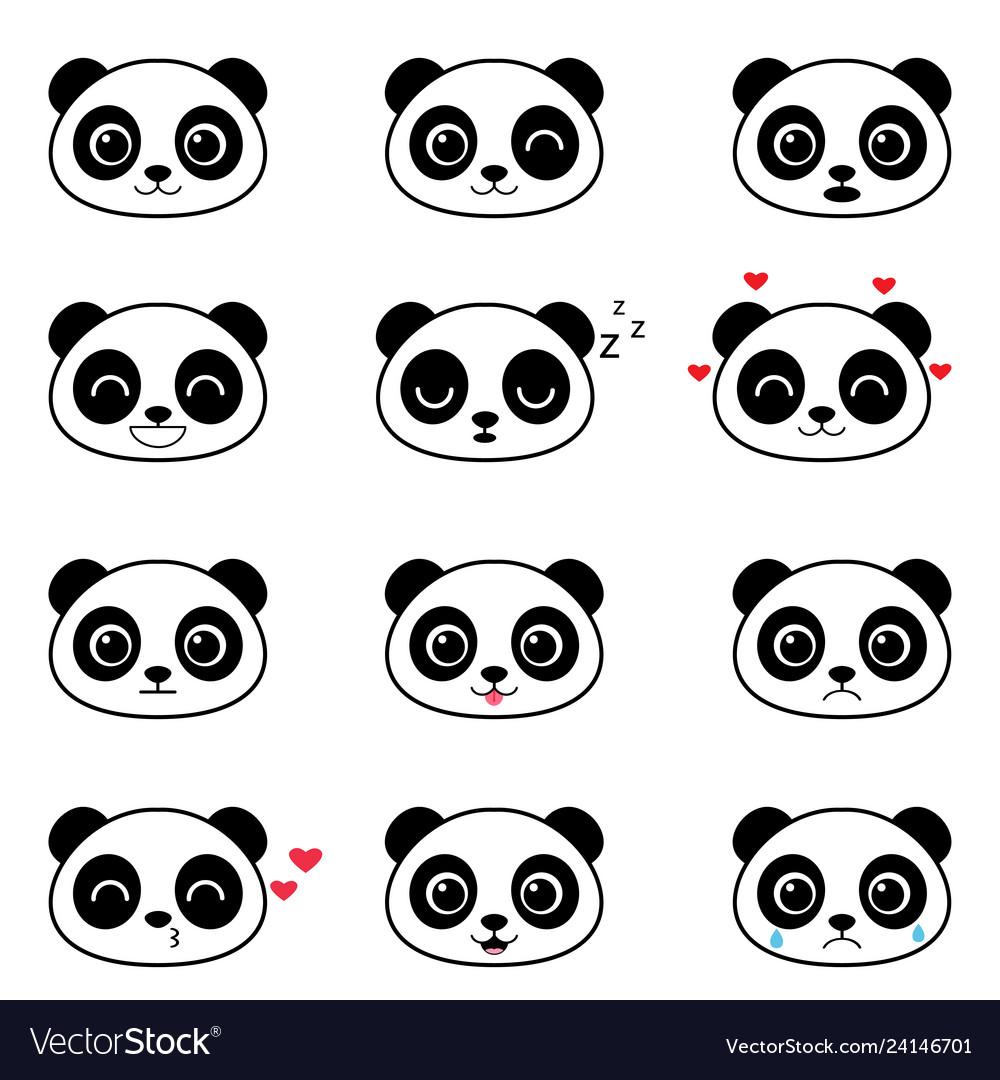 Set cute cartoon panda emotions