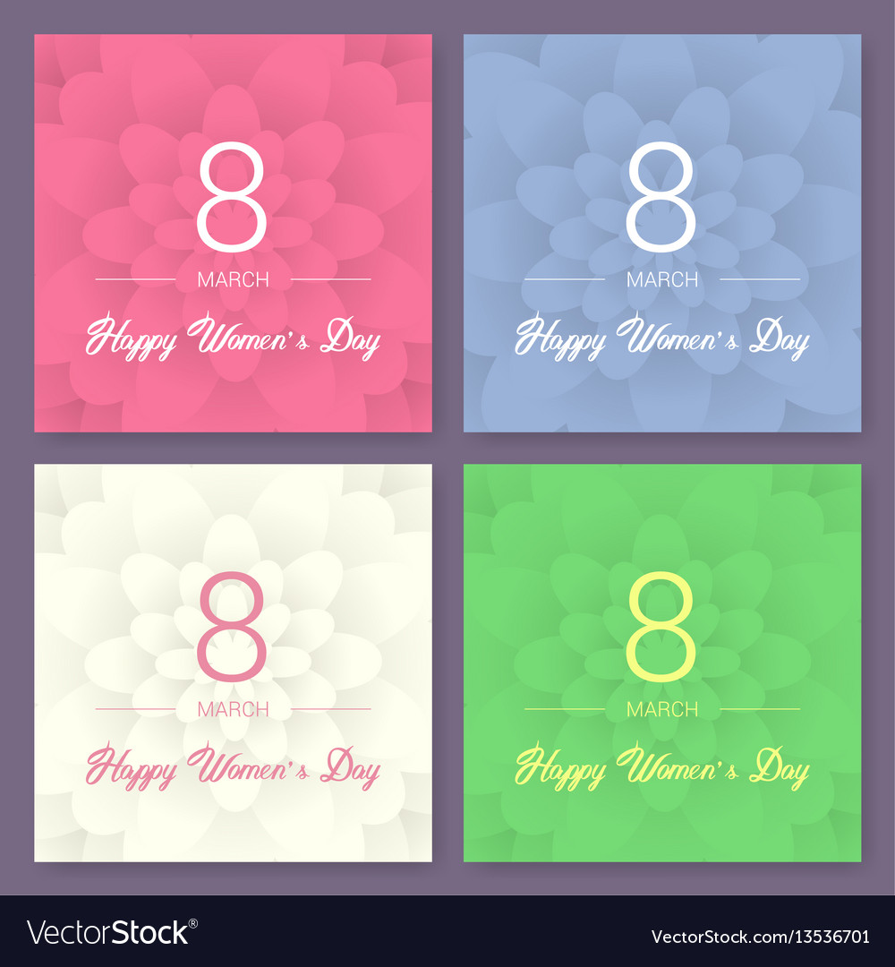 Set of abstract floral greeting card