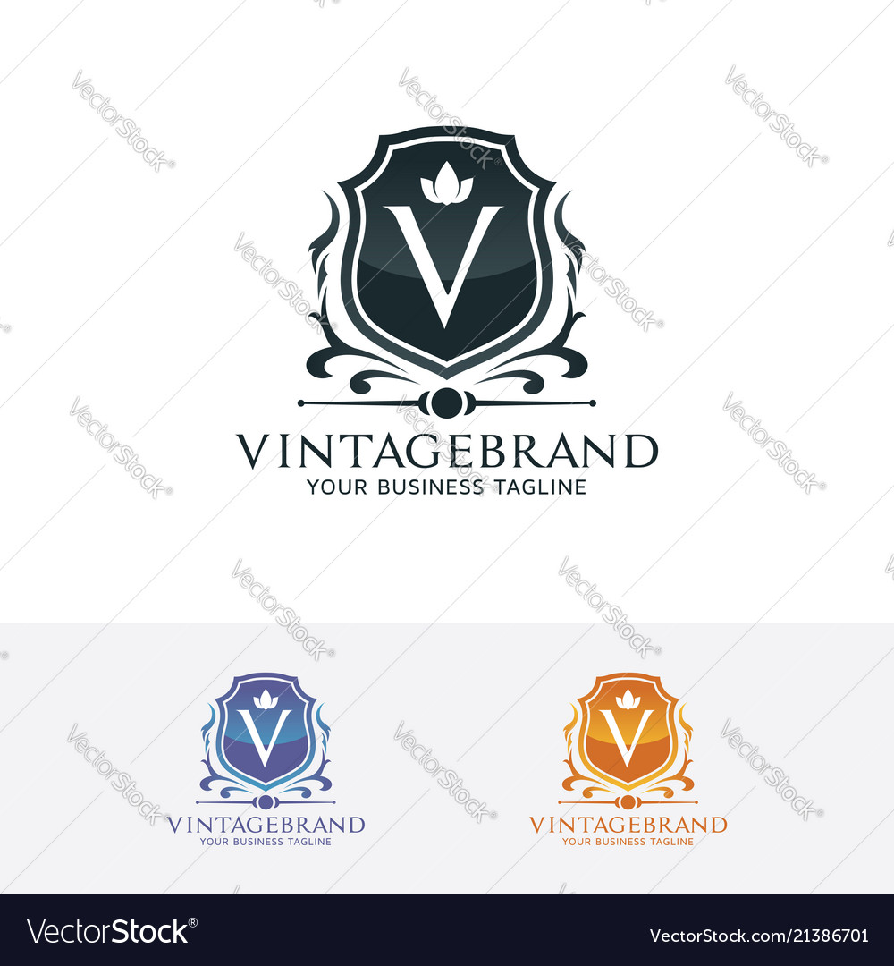 Shield logo with letter v