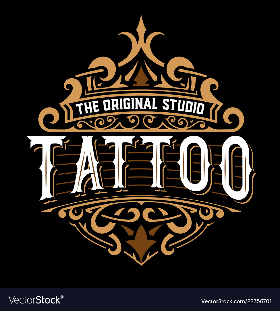Tattoo logo with floral details