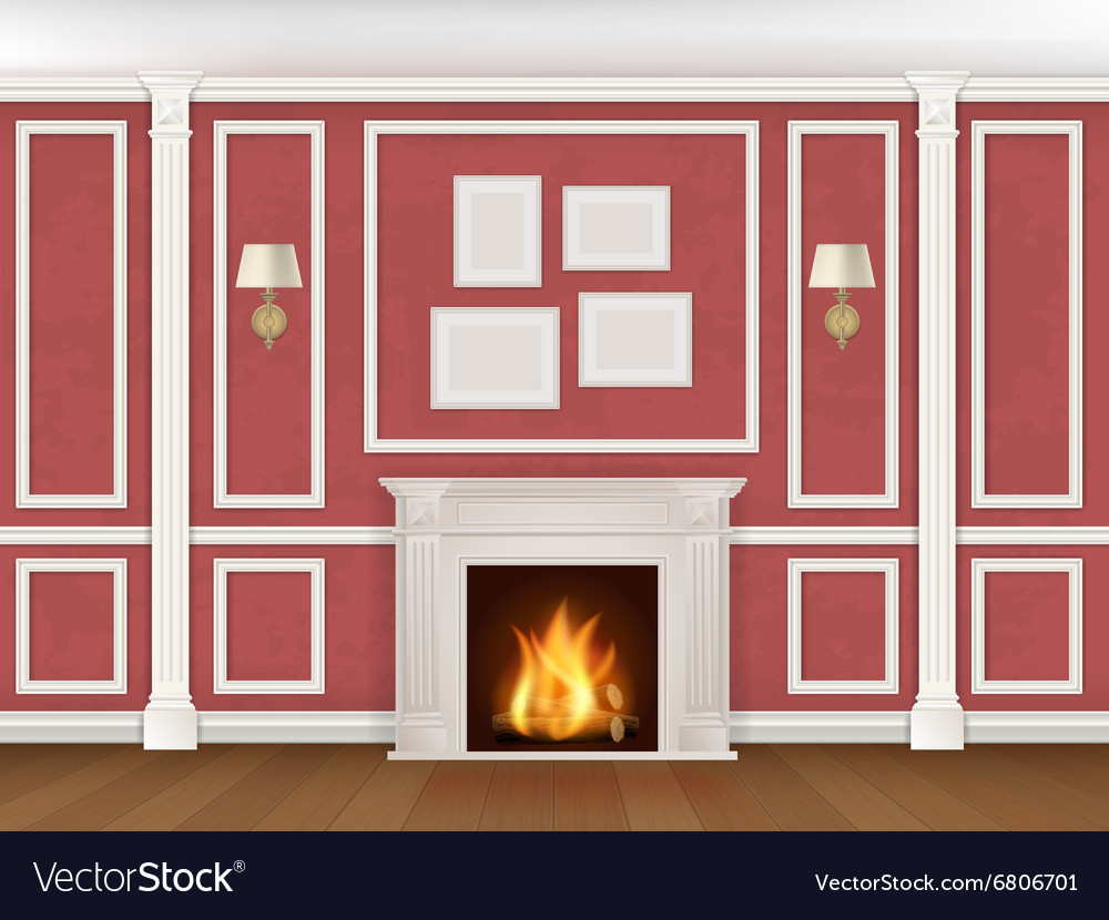 Wall with pilasters fireplace sconces vector image