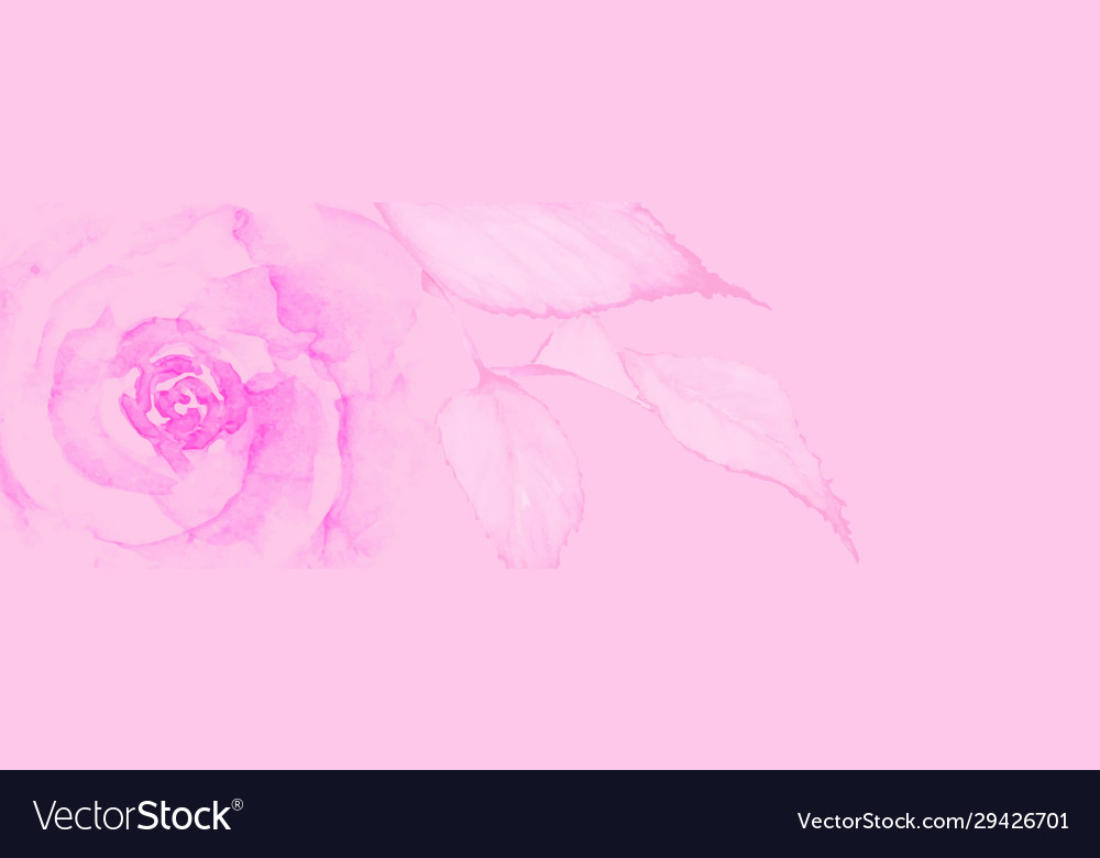 Watercolor valentine design with pink rose