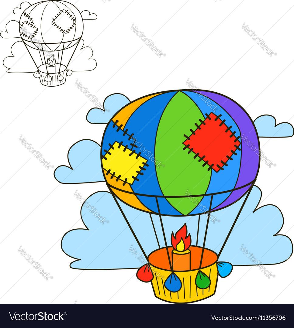 Air Balloon Coloring Book Page Cartoon Royalty Free Vector