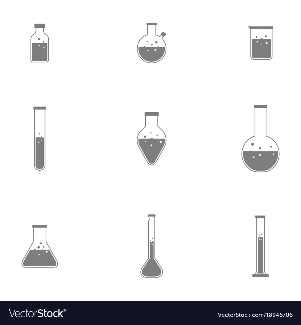Bottles with chemistry laboratory glassware