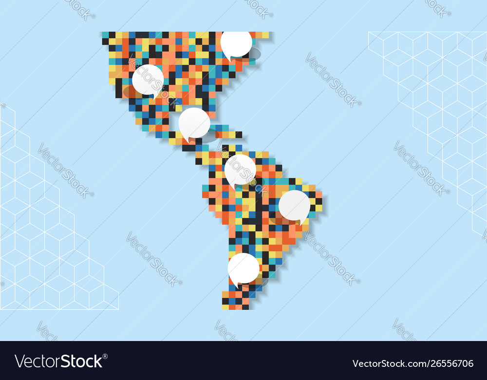 Colorful america pixel map empty bubble template