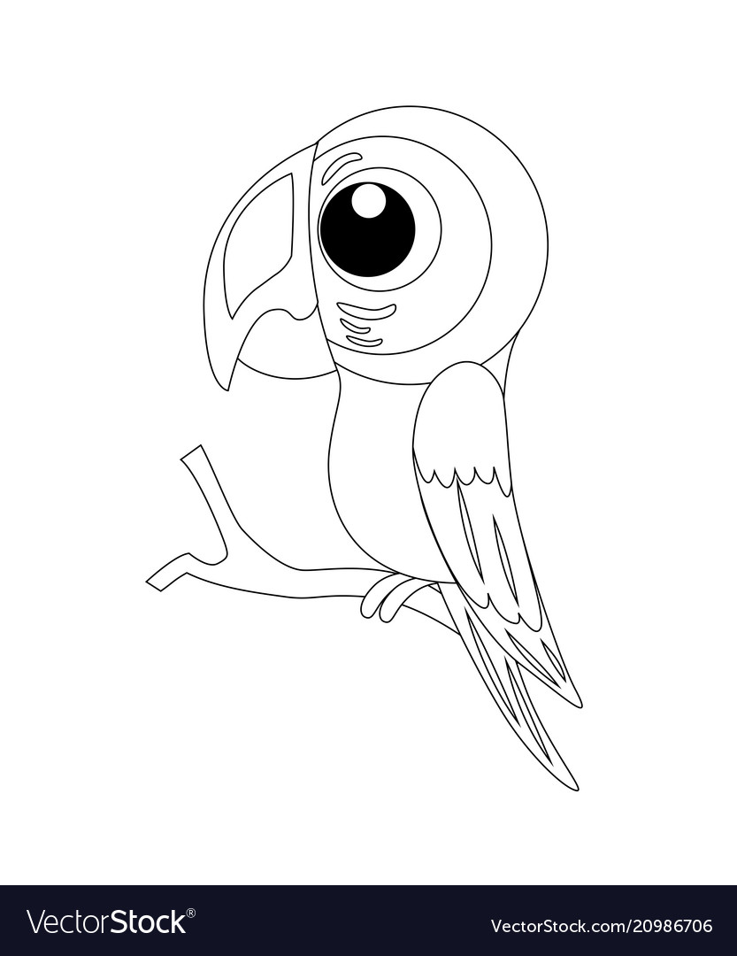 Colorless funny cartoon parrot