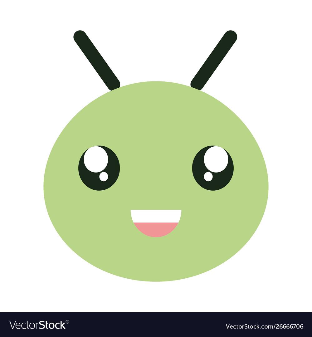 Cute little worm head kawaii character