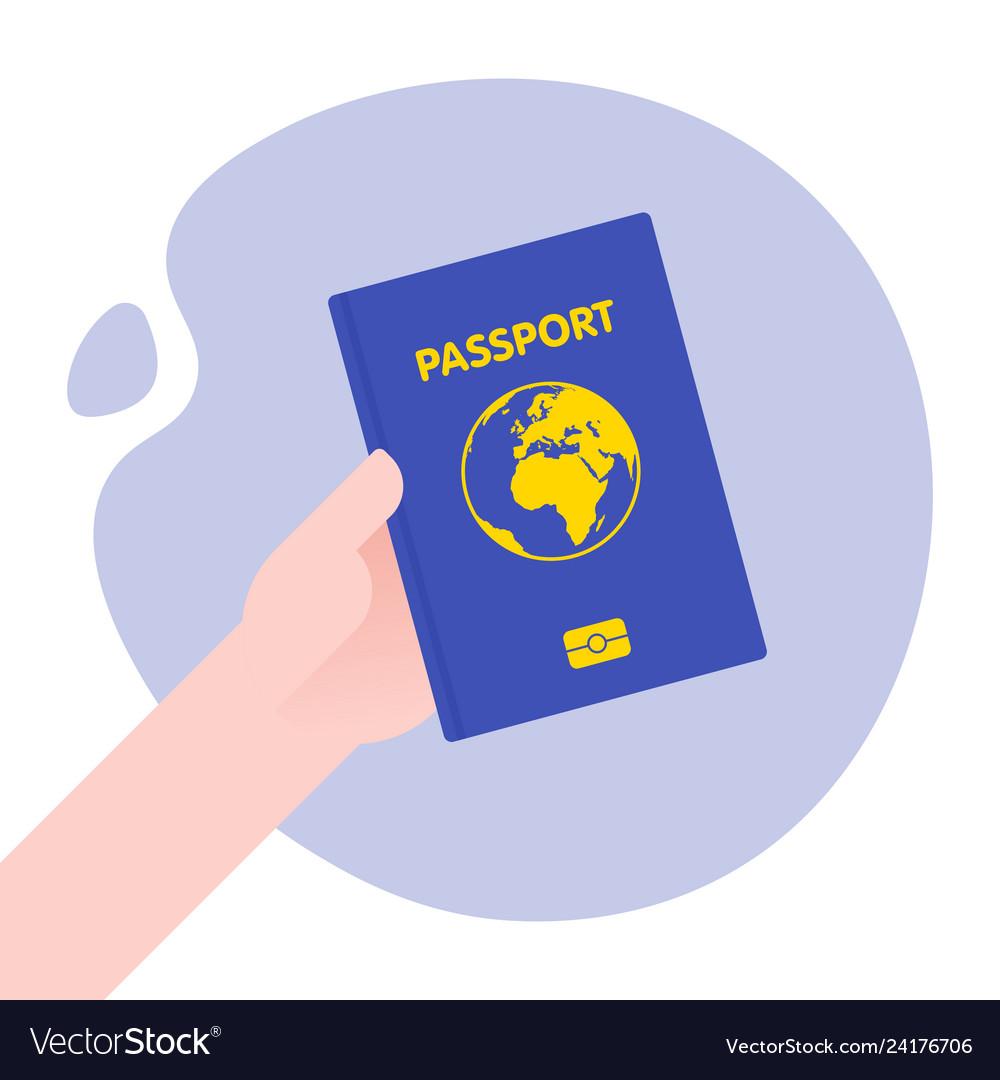 Hand holding passport for international journey