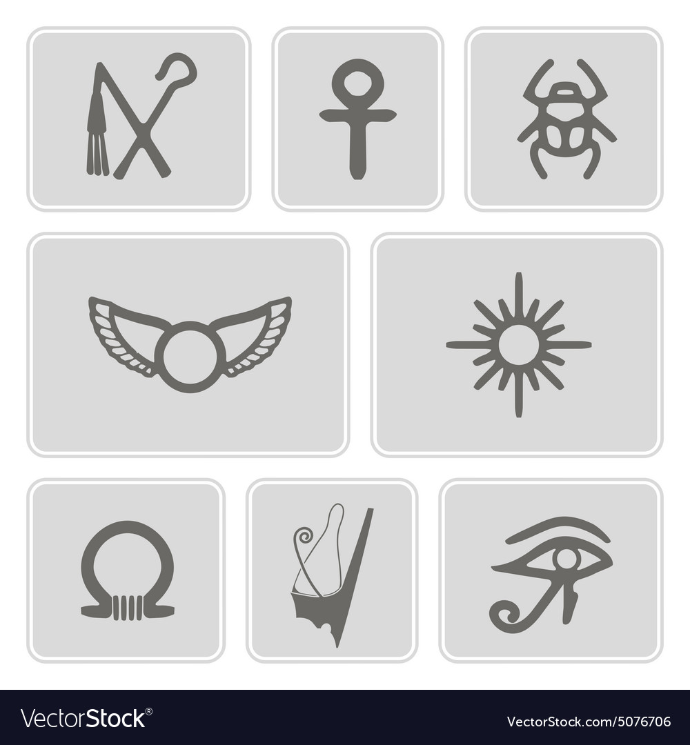 Monochrome Icons With Egyptian Symbols Royalty Free Vector