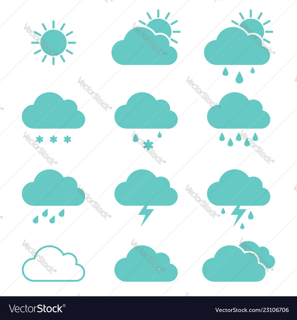 Set clouds weather icons flat style in