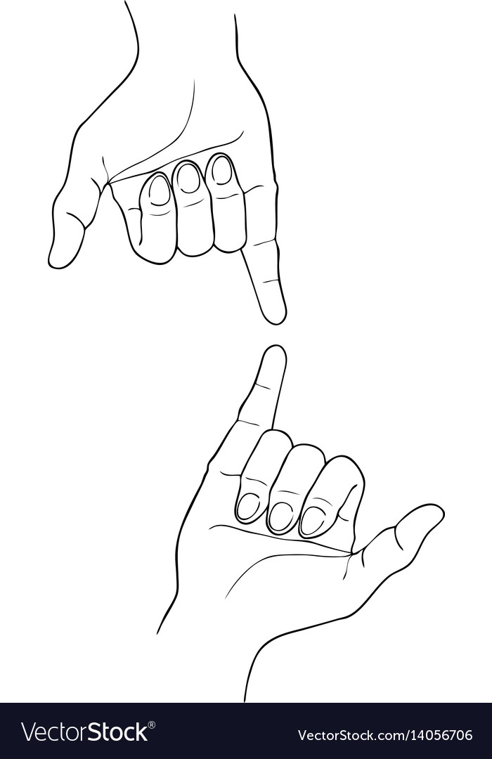 Sketch of two shaka hand on white background vector image