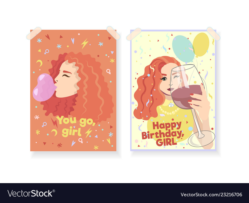 Two Greeting Cards For Women Girl Power Concept Vector Image