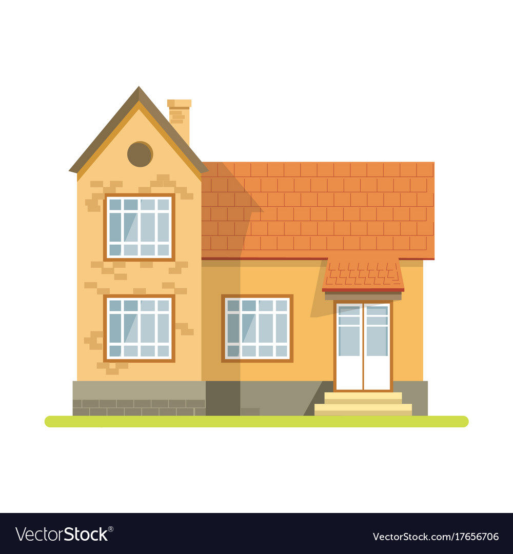 Vintage style brick house with plastic entrance vector image