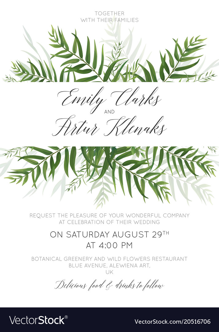 Wedding invite save the date card with palm leaves