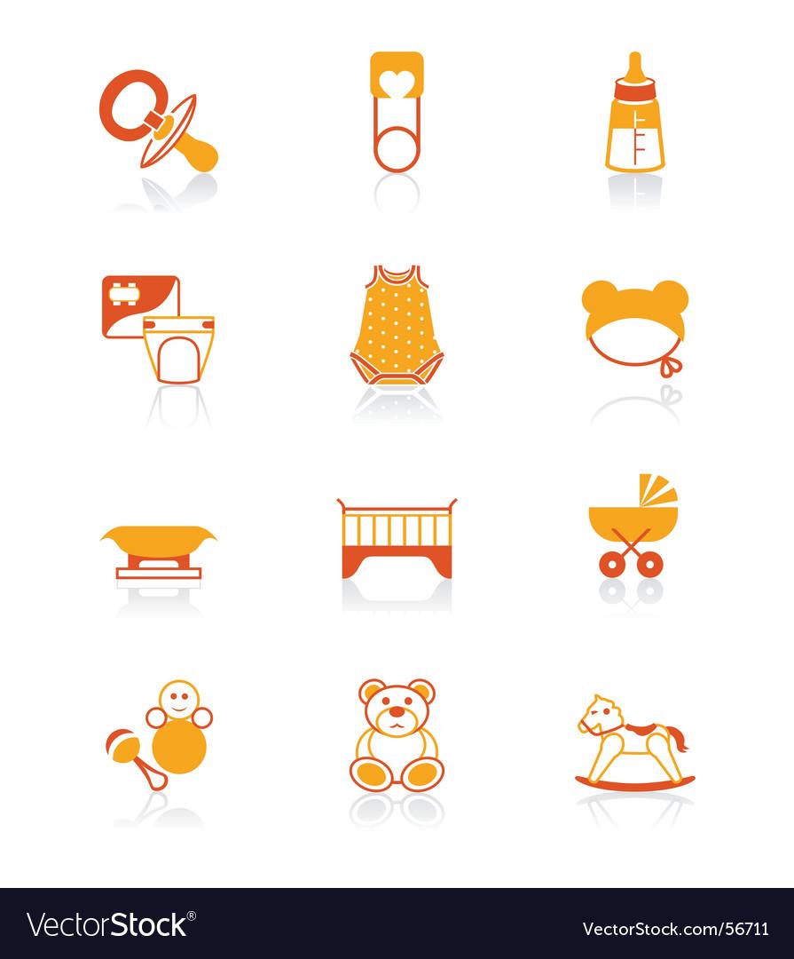 Baby icons juicy series vector image