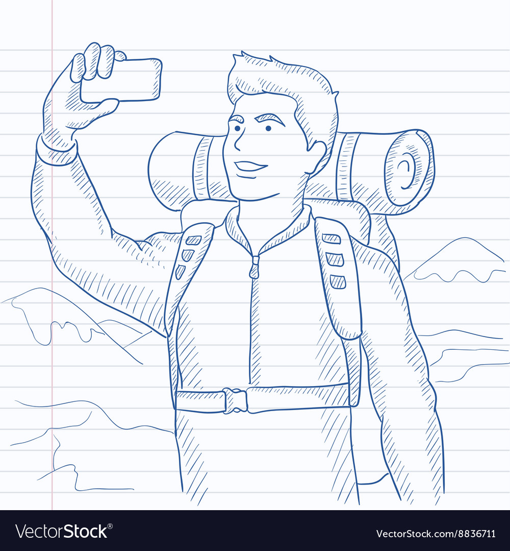 Backpacker making selfie vector image