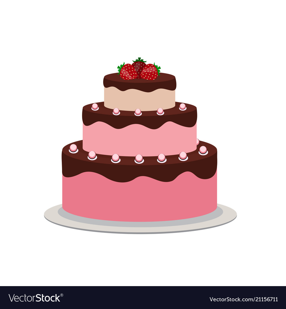Birthday cake flat icon for your design