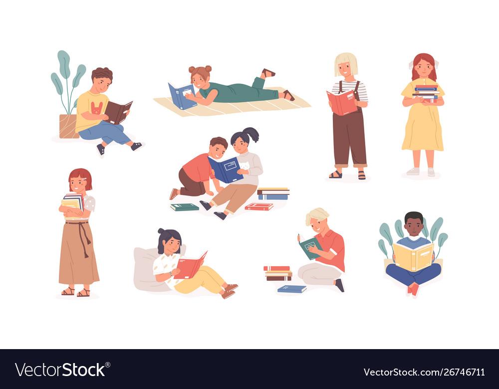 Bundle reading children or studying kids