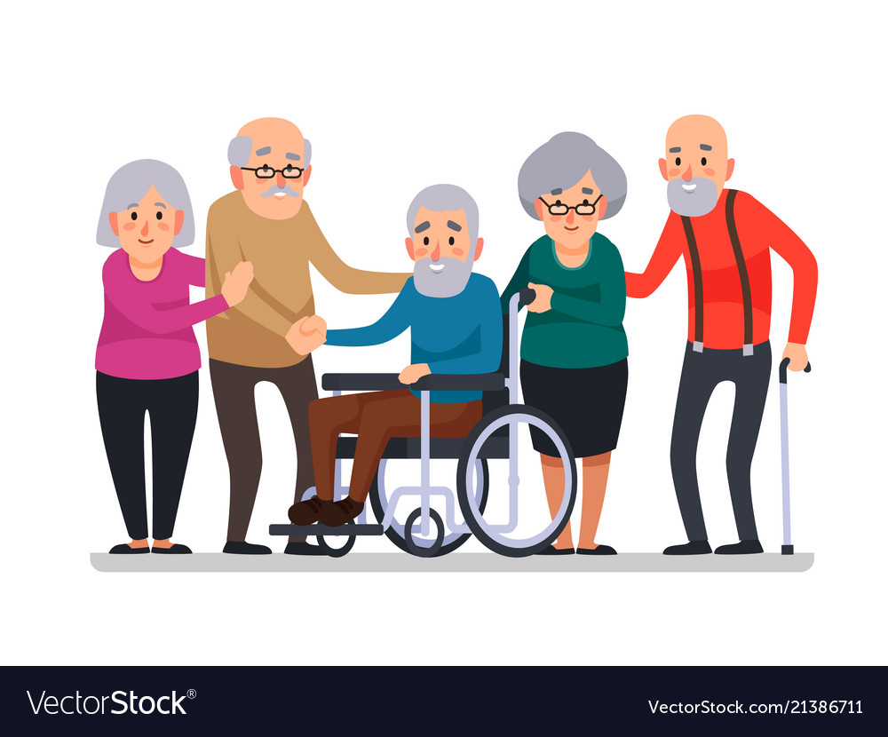 Cartoon old people happy aged citizens disabled