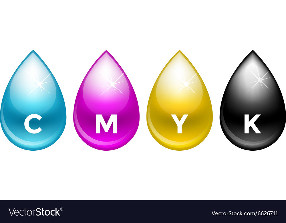 Cmyk drops isolated on white background vector image
