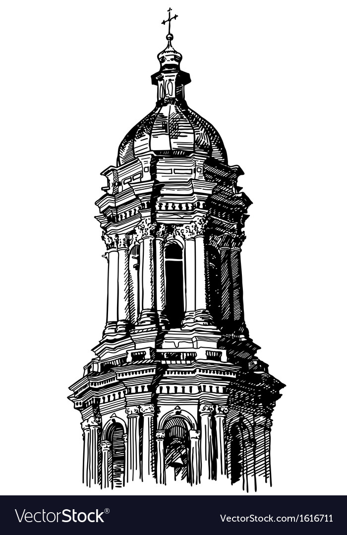 digital drawing of historical building royalty free vector