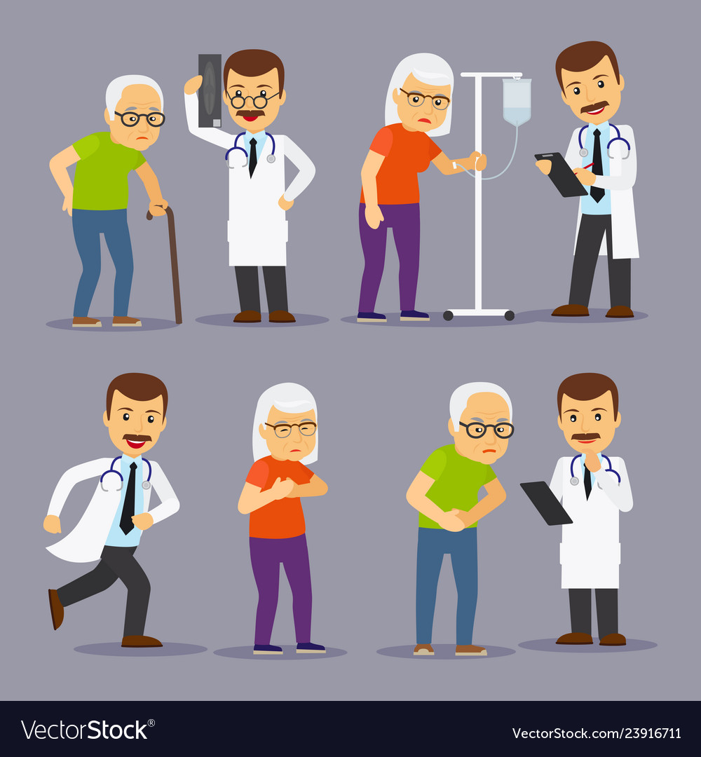 Doctors and elderly people medicine for old